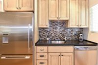 KITCHEN REMODEL WITH MOSAIC GLASS TILE BACK-SPLASH
